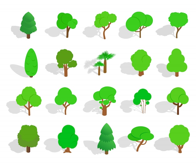Green tree icon set on white background