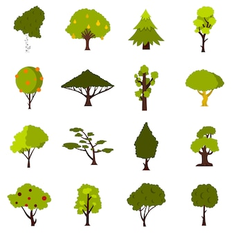 Green tree icons set