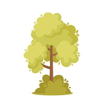 Green tree landscape design element, shrub, natural park or forest object with green leaves and brown trunk, summer plant with foliage isolated on white background. cartoon vector illustration