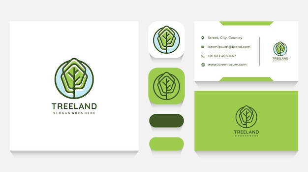 Green tree landscape logo template and business card