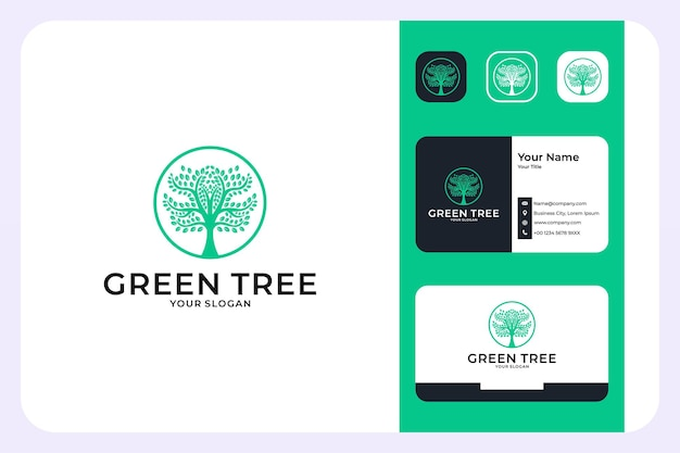 Green tree logo design and business card