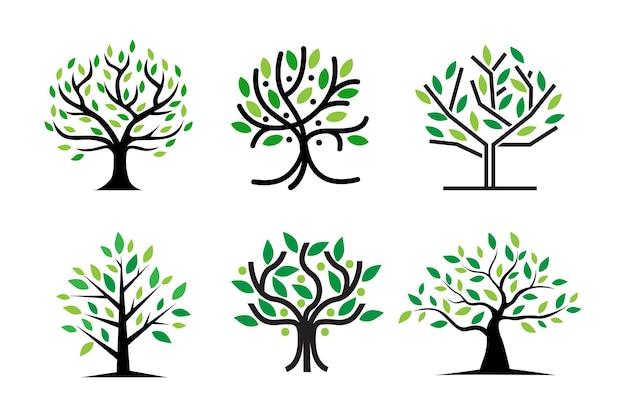Green tree logo design natural and abstract