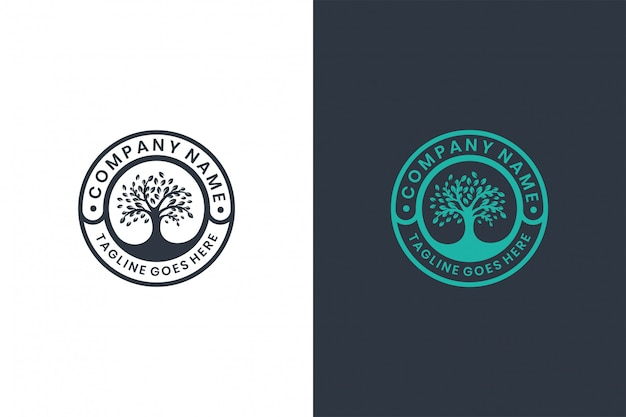 Green tree  logo design template , emblem