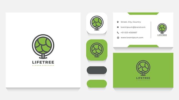 緑の木のロゴのテンプレートと名刺