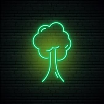緑の木のネオンサイン。