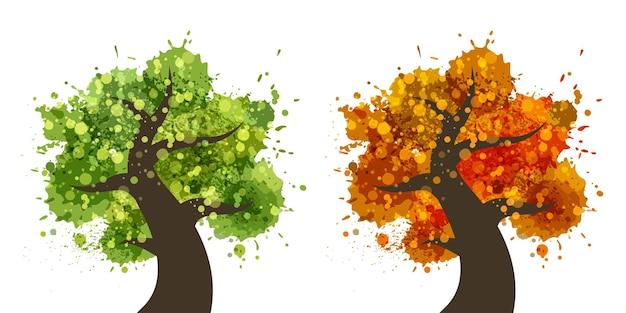 Green tree and orange tree icon set. vector logo illustration