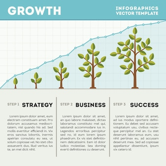 Green tree and plant timeline diagram infographics vector template. strategy business success illust