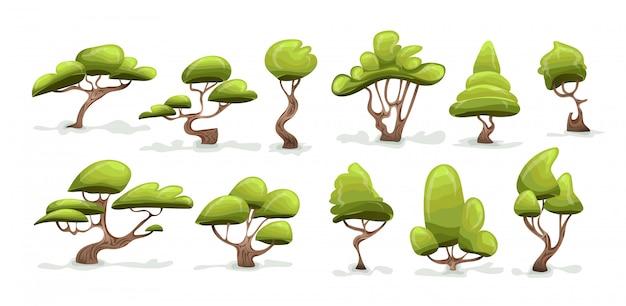 緑の木セット。白い背景で隔離の漫画イラスト。 Premiumベクター