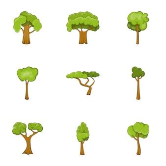 Green tree set, cartoon style