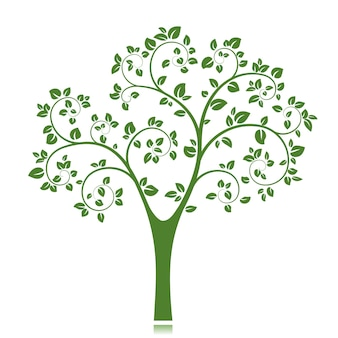 Green tree silhouette isolated
