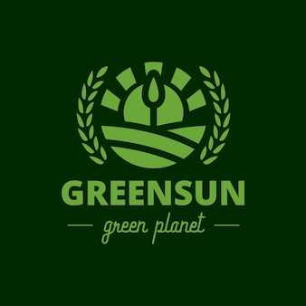 Green tree sun crest logo
