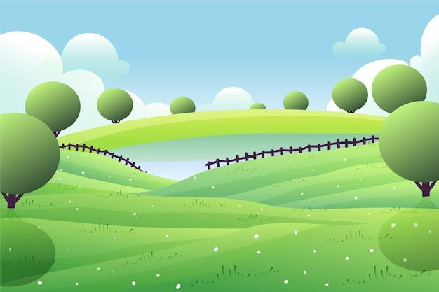 緑の木々と湖の春の風景