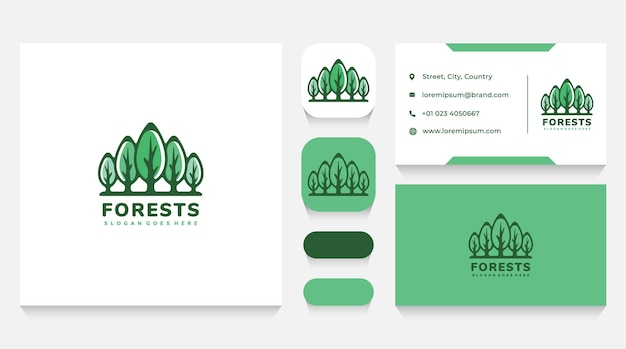 Green trees forest logo template and business card