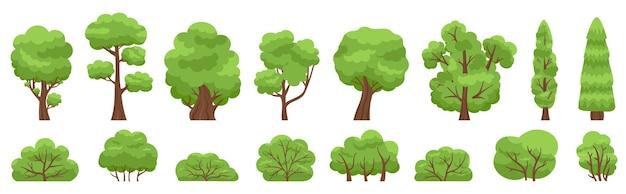 Зеленые деревья. лесной или садовый кустарник и дерево, древесные листва, зеленые ветви. Premium векторы