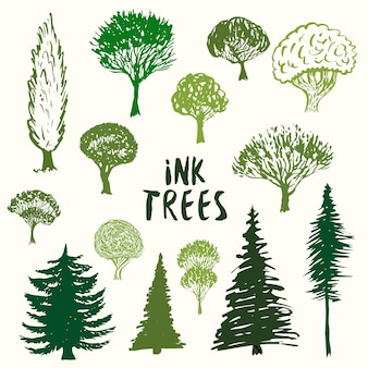 Green trees silhouette vector collection