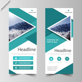Green triangle roll up banner template