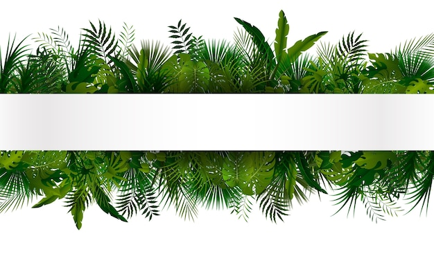 Green tropical foliage banner