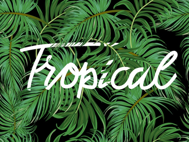 Green tropical leave seamless pattern banner