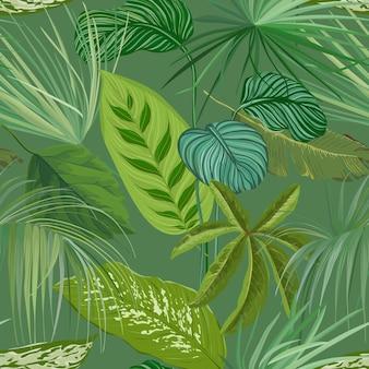 Зеленые тропические листья и ветви бесшовные модели, ботанический фон. реалистичная бумага spathiphyllum cannifolium или текстильный принт, орнамент декоративных обоев тропического леса. векторные иллюстрации