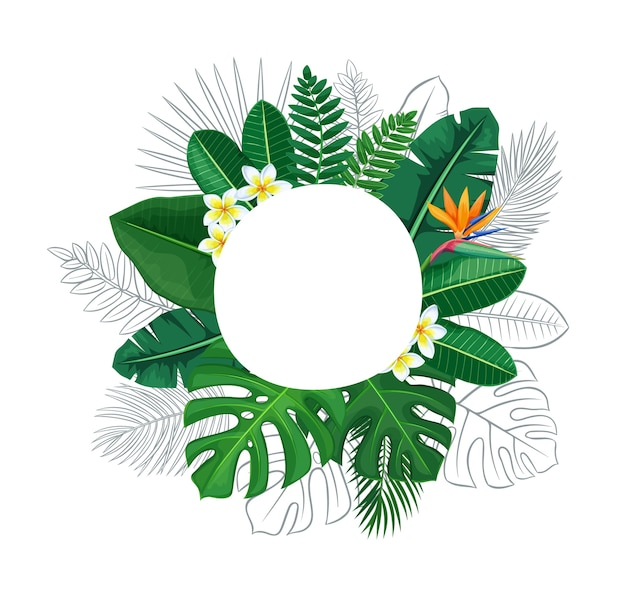 Green tropical leaves and flowers circle frame