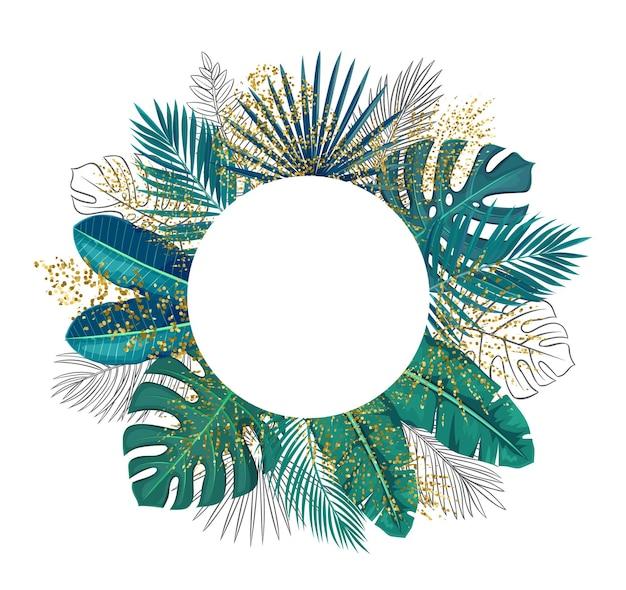 Зеленые тропические листья кадра копируют пространство. экзотические листья джунглей вырезать круглый плакат продажи с контуром пальмы ареки и золотыми листьями монстеры векторная иллюстрация.