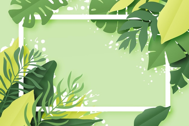 Green tropical leaves frame. summer background. paper cut style. design illustration