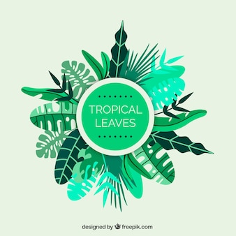 Green tropical leaves frame