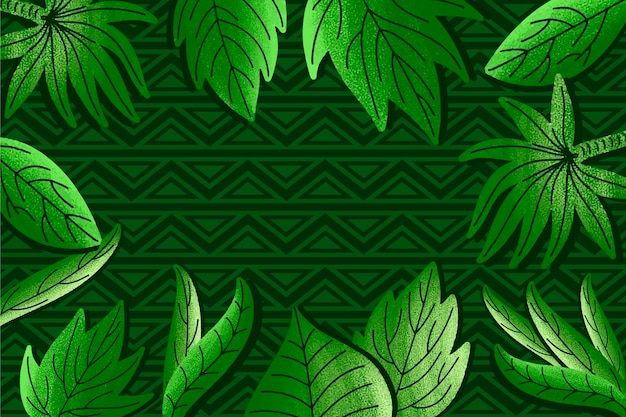 Green tropical leaves on geometric background