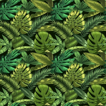 Green tropical leaves seamless pattern. color monstera and tropic palm leafs, botanical garden floral illustration. seamless exotic tropic, jungle green decoration