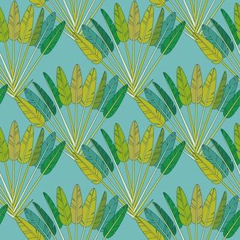녹색 열 대 야자수 잎과 가지 팬 기하학적 완벽 한 패턴, 파란색 배경에 식물 트로픽 인쇄. 종이 또는 섬유 열대 우림 장식 벽지 장식. 벡터 일러스트 레이 션