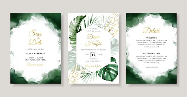 Зеленое тропическое акварельное свадебное приглашение