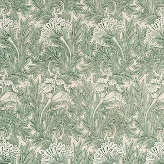 緑のチューリップの花のパターンベクトル