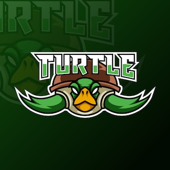 Green turtle ninja mascot gaming logo design tempate for team