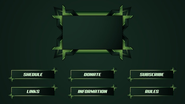 Green twitch streamer panel overlay template