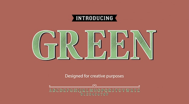 Green typeface.for labels and different type designs