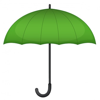 Green umbrella on white