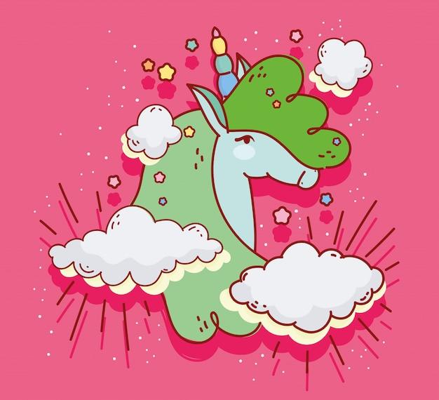 Green unicorn clouds dream fantasy magic cartoon