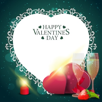 Green valentine's day greeting card