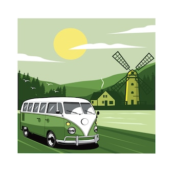Green van and windmill illustration