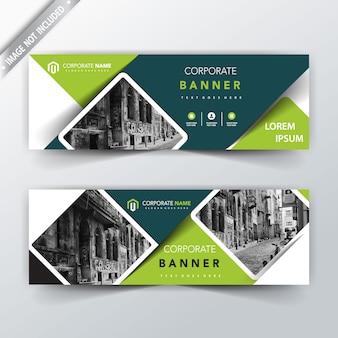 Зеленый вектор назад и передний баннер дизайн