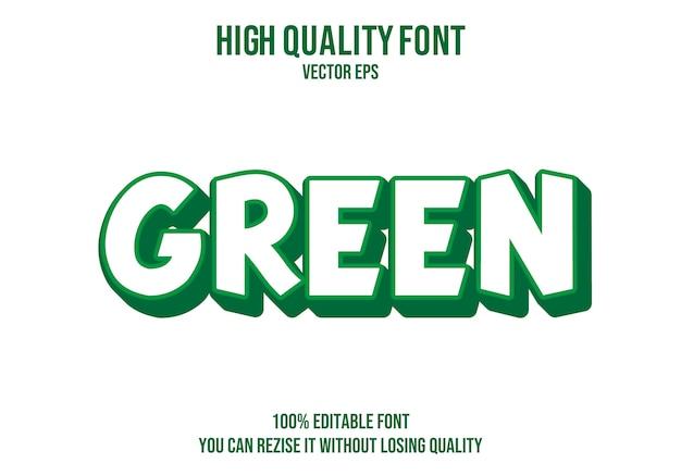 Green vector text font effect