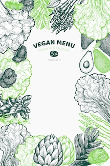 Green vegetable design background. hand drawn vector food illustration. engraved style vegetable