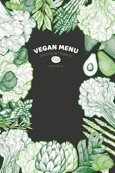 Зеленый овощной дизайн фона. ручной обращается векторная иллюстрация пищи на фоне мела