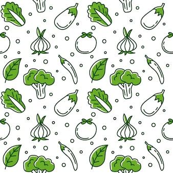 녹색 야채 낙서 원활한 패턴 벡터 배경