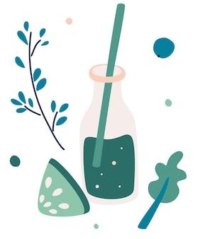 緑の野菜のスムージー。スムージーデトックスカクテル。緑の果物と野菜がガラスの瓶に混ざっています。エネルギーとダイエットのためのカクテル。フラットスタイルのベクトルイラスト。
