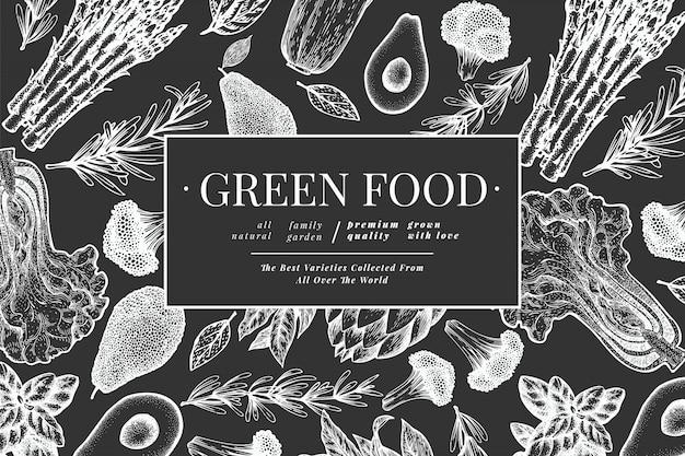 Зеленые овощи черно-белый шаблон.