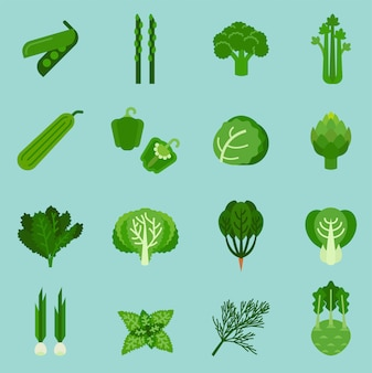Green vegetables collection, info graphic food, vector illustration.
