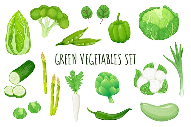 Green vegetables icon set in realistic 3d design bundle of cabbage broccoli peas pepper