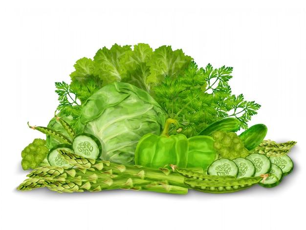 Зеленые овощи смешать на белом