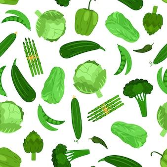 緑の野菜のシームレスなパターン。キャベツブロッコリーとキュウリ